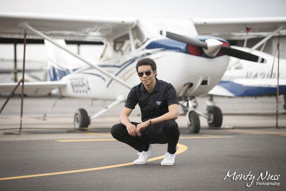 airplane sunglasses senior portrait