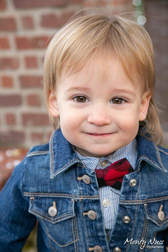brick denim bow tie boy outdoor photography blonde