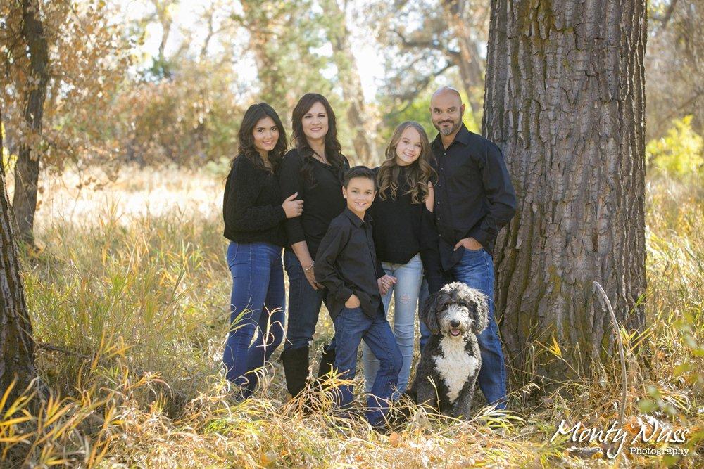 family portrait dog field jeans colorado