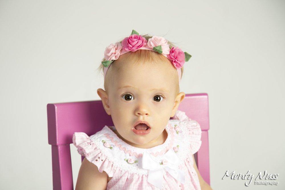 flower crown indoor studio pink chair ruffle shirt