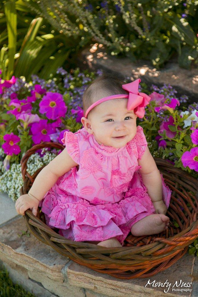 pink dress baby basket headband outdoor professional photography