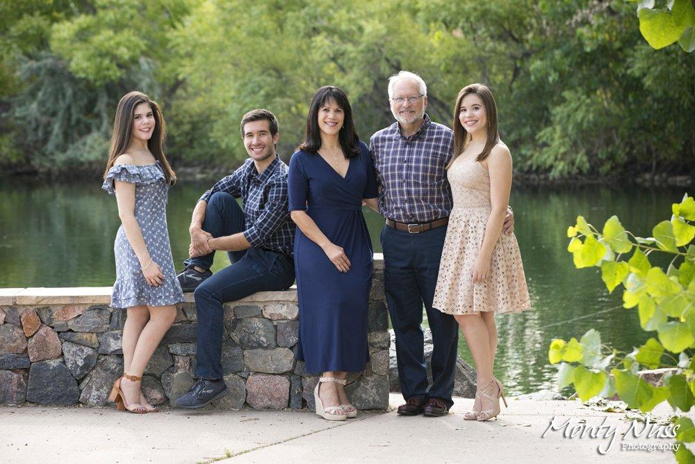 professional family photography littleton colorado lake stone wall