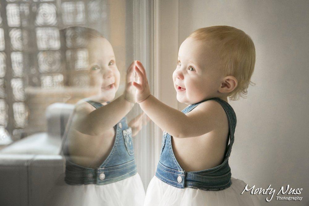 window reflection smile blonde=baby denim dress white