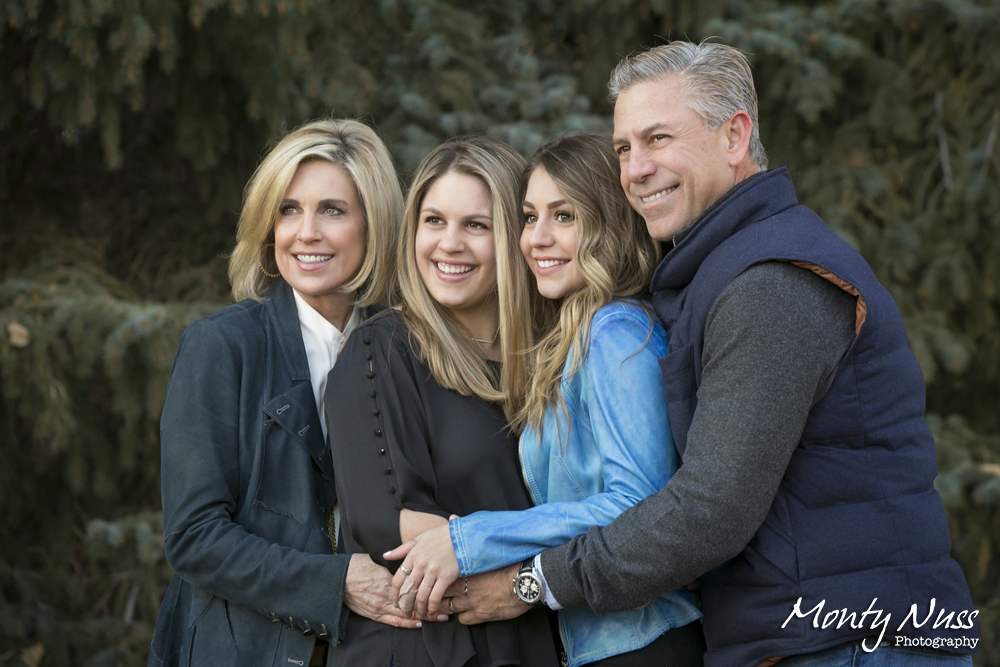 winter candid family photo evergreen